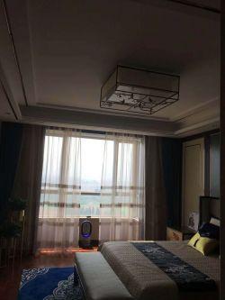 新中式風格140平米三居臥室窗簾搭配家裝圖片