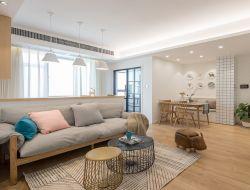 北歐風格104平米三居客廳木地板鋪設圖片