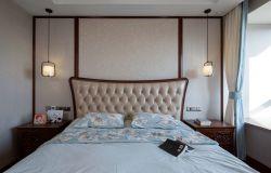 中式新房臥室床頭背景墻造型裝修圖片