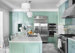 歐式家居廚房綠色櫥柜整體裝飾設計圖片