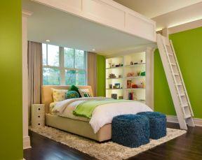 臥室樓梯裝修效果圖 臥室綠色墻面設計