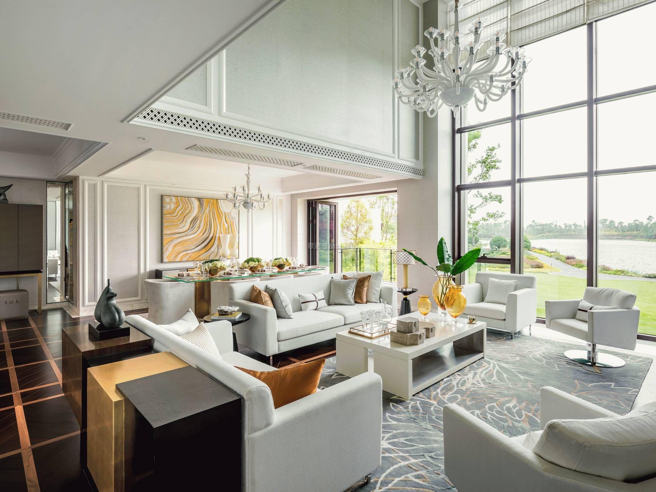 新房子别墅客厅白色沙发装修设计图片