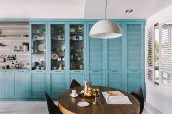 新房子餐廳藍色壁柜裝修設計效果圖欣賞