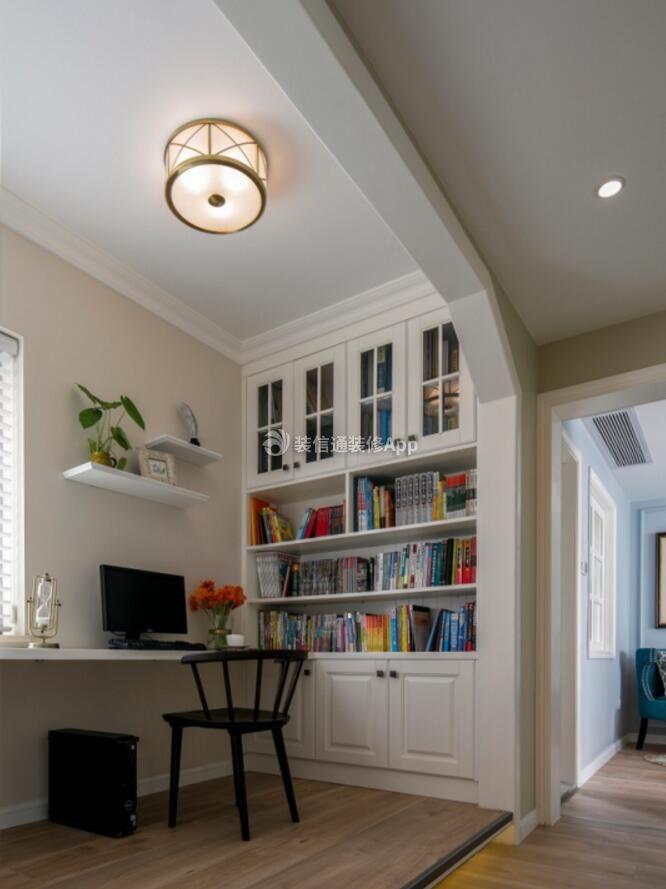 两居样板房装修阳台书桌书柜设计效果图