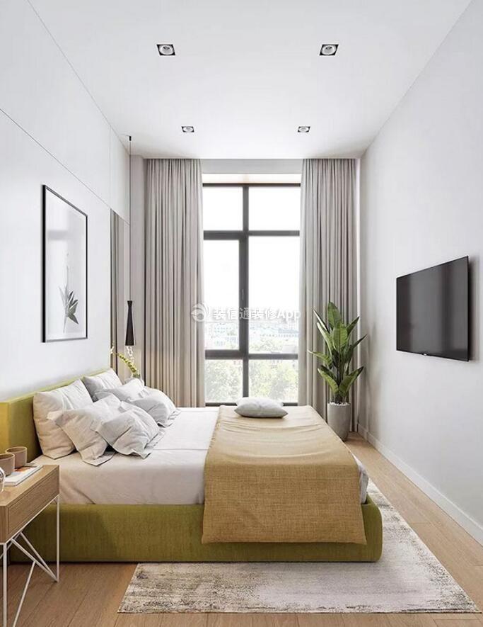 单身公寓样板房卧室纯色窗帘装修图
