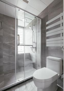 114平米簡約北歐風格三居衛生間玻璃隔斷設計圖片