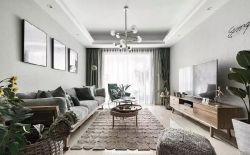簡約北歐風格120平米三居婚房客廳吊燈設計圖片