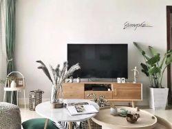 簡約北歐風格120平米三居婚房客廳電視墻設計圖片