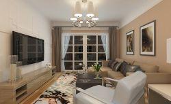 現代風格二居室新房客廳背景墻裝修效果圖
