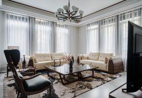 2019中式客廳窗簾圖片  2019簡約中式客廳窗簾圖片