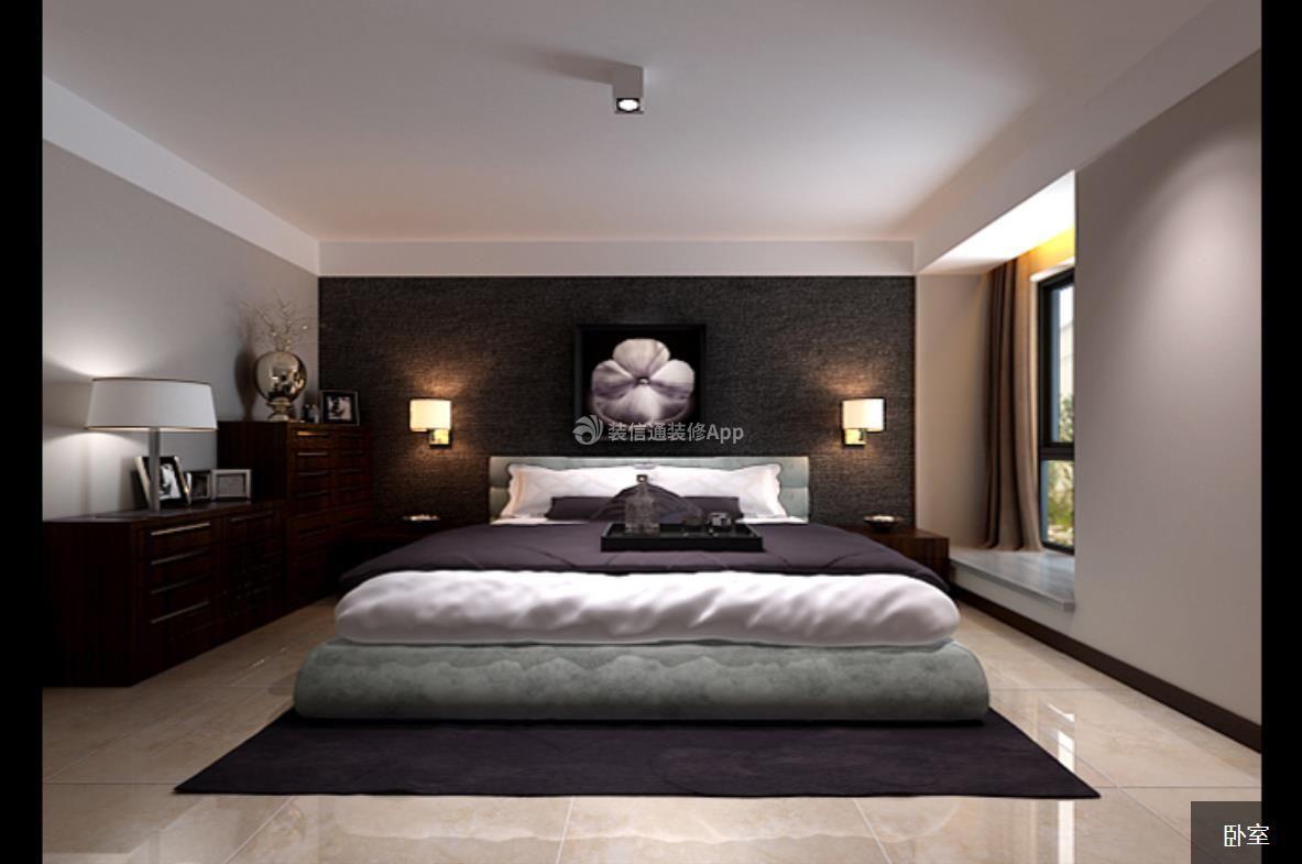 现代中式风格1400平米别墅卧室飘窗装修效果图图片
