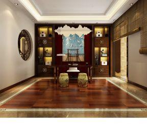 新中式风格260平米三居室书房背景墙装修效果图图片