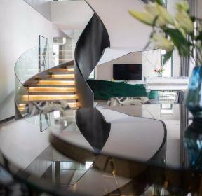 現代風格1100平米雙拼別墅樓梯間設計圖片-每日推薦