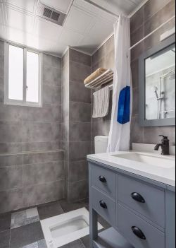 簡約北歐風格118平米新房衛生間浴簾設計圖片
