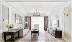 現代美式風格四居室新房客廳背景墻設計圖片
