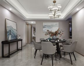 新榕金城湾三居110平新中式风格餐厅背景墙装饰画图片