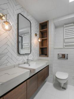 溫馨簡歐風格衛生間洗手臺鏡前燈裝修圖片