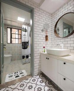 北歐住宅新房洗手間背景墻磚裝修設計