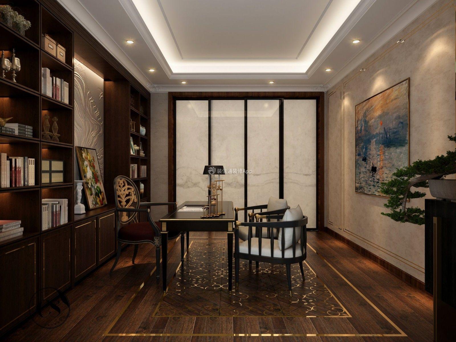 500平米别墅书房背景墙装修效果图图片