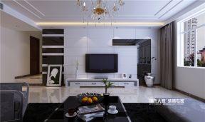 现代简约风格140平方米新房客厅黑白电视墙家装效果图