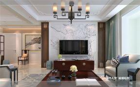 新中式挑高客厅电视墙-装修123网效果图大全图片