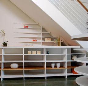 2019簡約風格復式樓梯下方裝飾柜擺放圖片-每日推薦