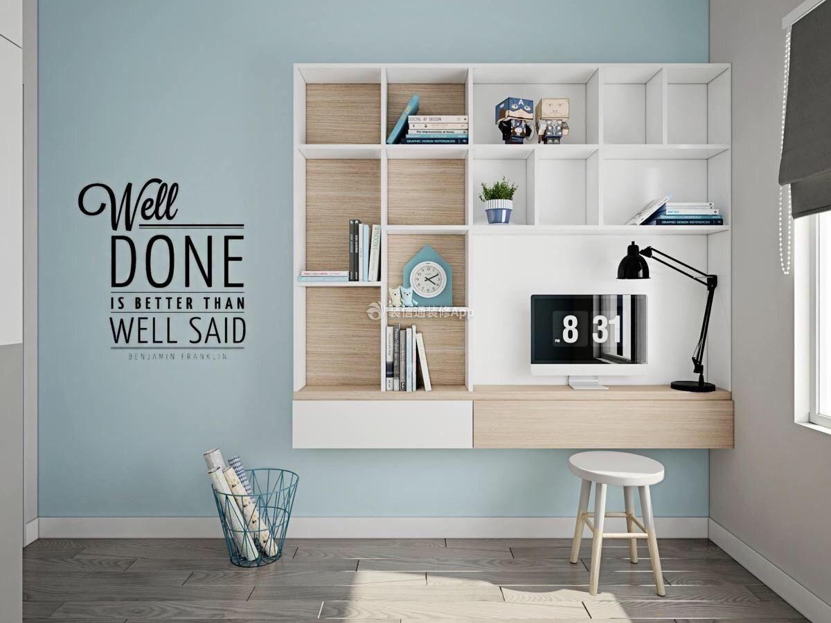 儿童房墙壁创意书桌书柜设计造型赏析2019
