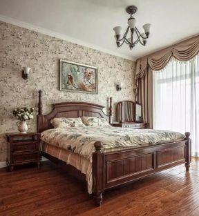 美式风格住宅卧室花纹壁纸装潢装修图一览