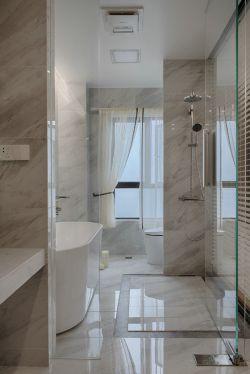 現代簡約風格92㎡二居衛浴間玻璃隔斷設計圖片