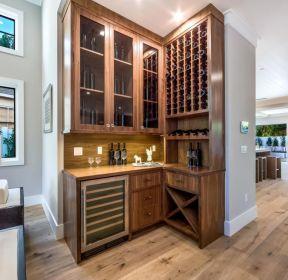 2020家庭玄关转角实木酒柜图片-每日推荐