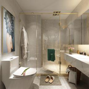 轻奢风格130平米三居卫生间淋浴房装修效果图