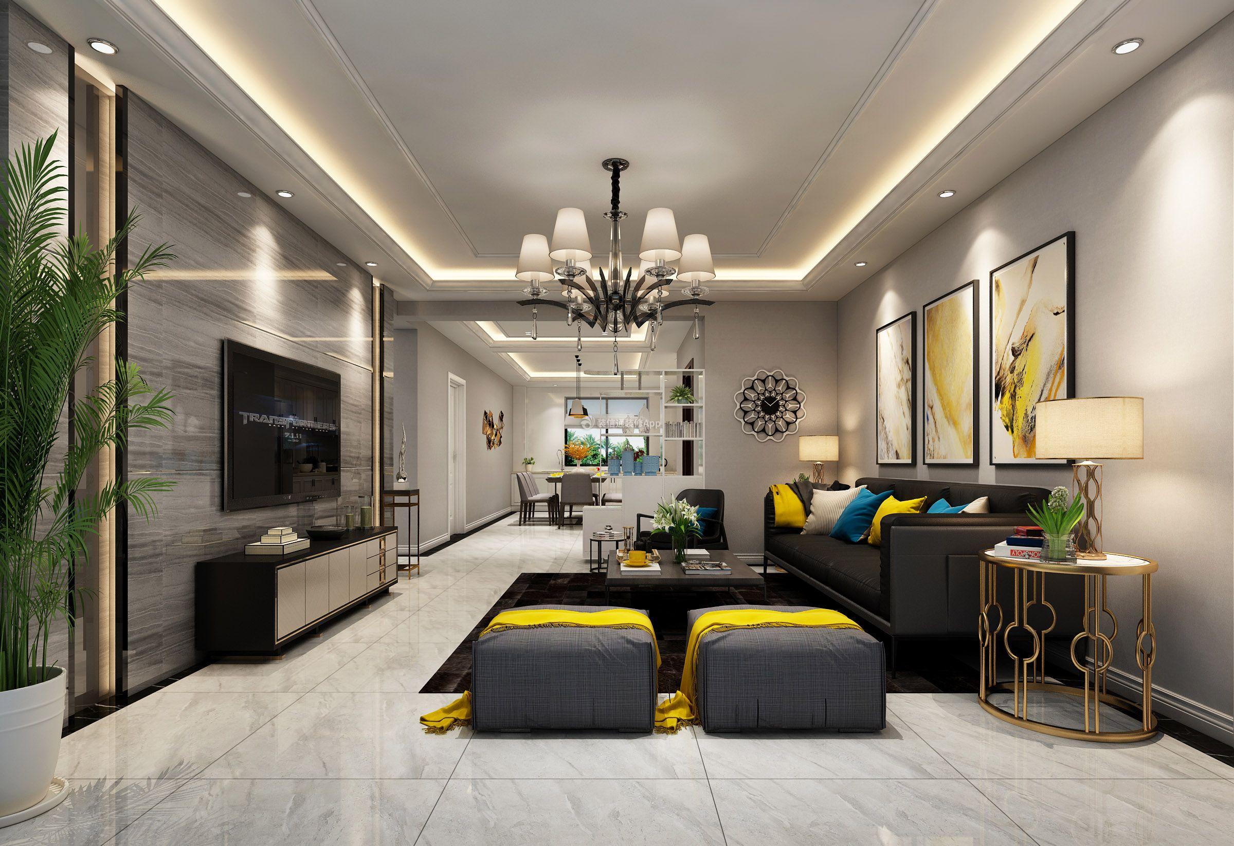 后现代客厅效果图 2019后现代客厅装修图片
