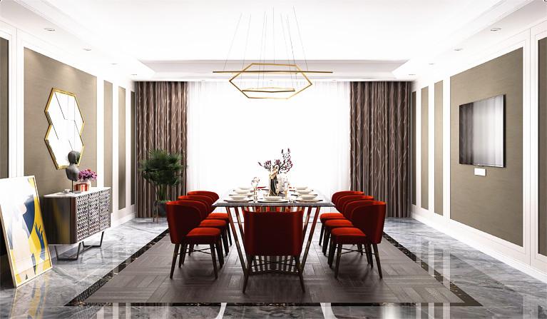 现代时尚别墅餐厅红色餐椅装修设计实景图