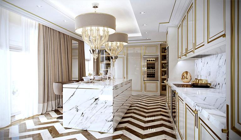 2019现代轻奢风格厨房地板砖装潢设计图