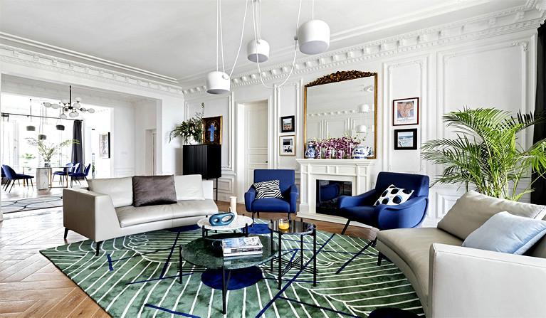 时尚别墅客厅室内沙发摆放装修设计图赏析
