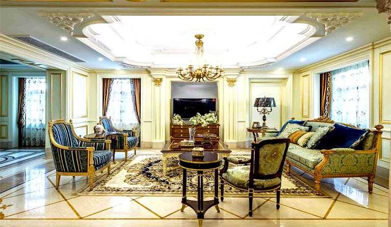 2019美式风格新房客厅沙发摆放布置效果图