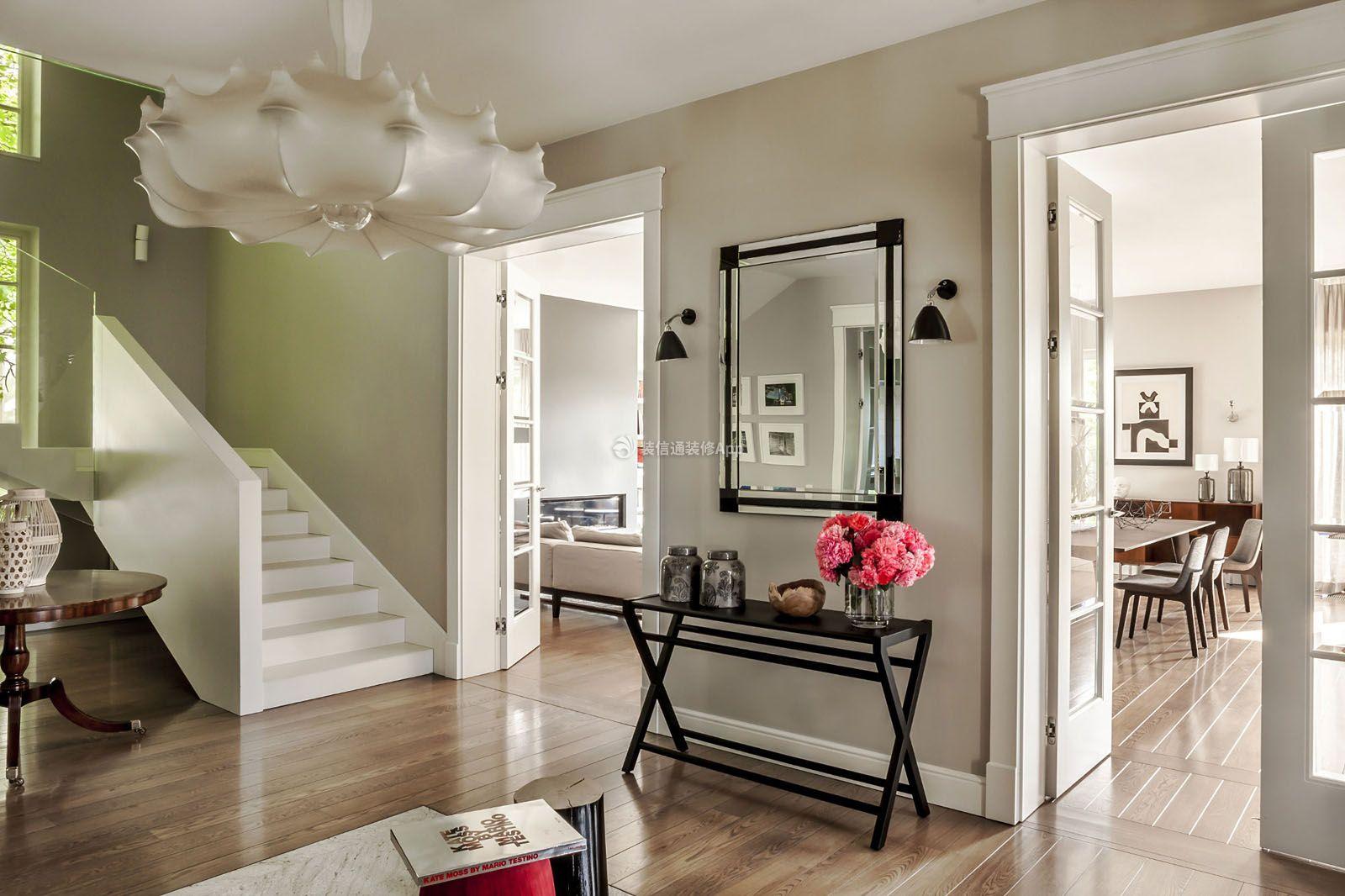 别墅房子室内白色楼梯设计装修图片
