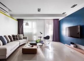 大客廳裝潢 藍色電視墻裝修效果圖 客廳藍色電視墻