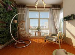 現代簡約風格三居室陽臺植物墻設計裝飾效果圖
