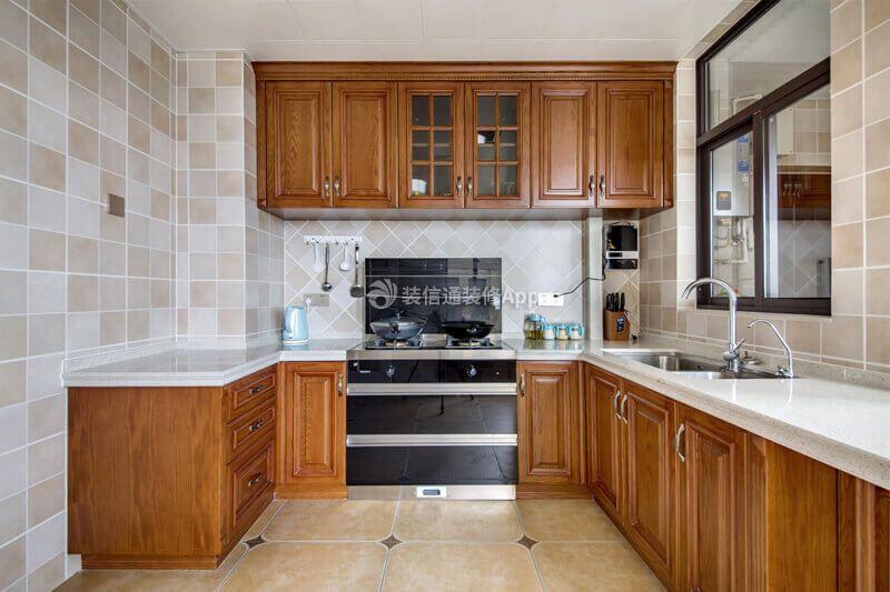 115平复古美式风格厨房吊柜装修效果图片赏析