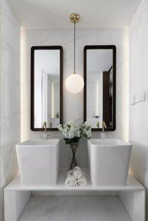 2019卫生间镜子装修效果图 卫生间洗手台设计 2019卫生间洗手台设计图