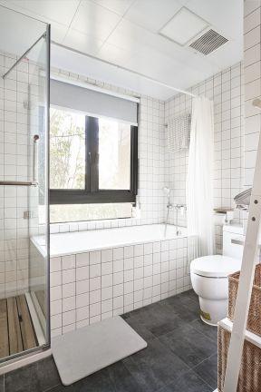 2019浴室装修浴帘图片 卫生间淋浴隔断装修效果图片