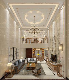 石竹山水园新中式风格复式楼客厅吊顶灯具图片图片