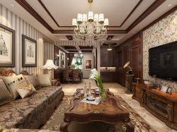 中海城學府美式古典風格客廳吊頂燈具裝潢圖片