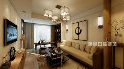 天來豪庭新中式風格89平米兩居室客廳裝修效果圖