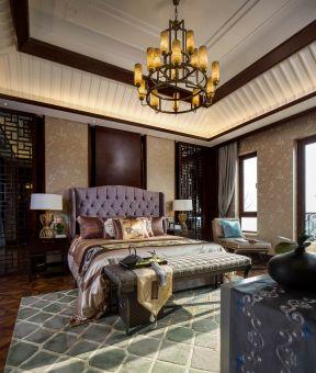新中式臥室裝修圖片大全  臥室床尾凳效果圖