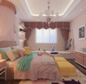 巴洛克風格大戶型兒童房臥室粉色背景墻設計效果圖-每日推薦
