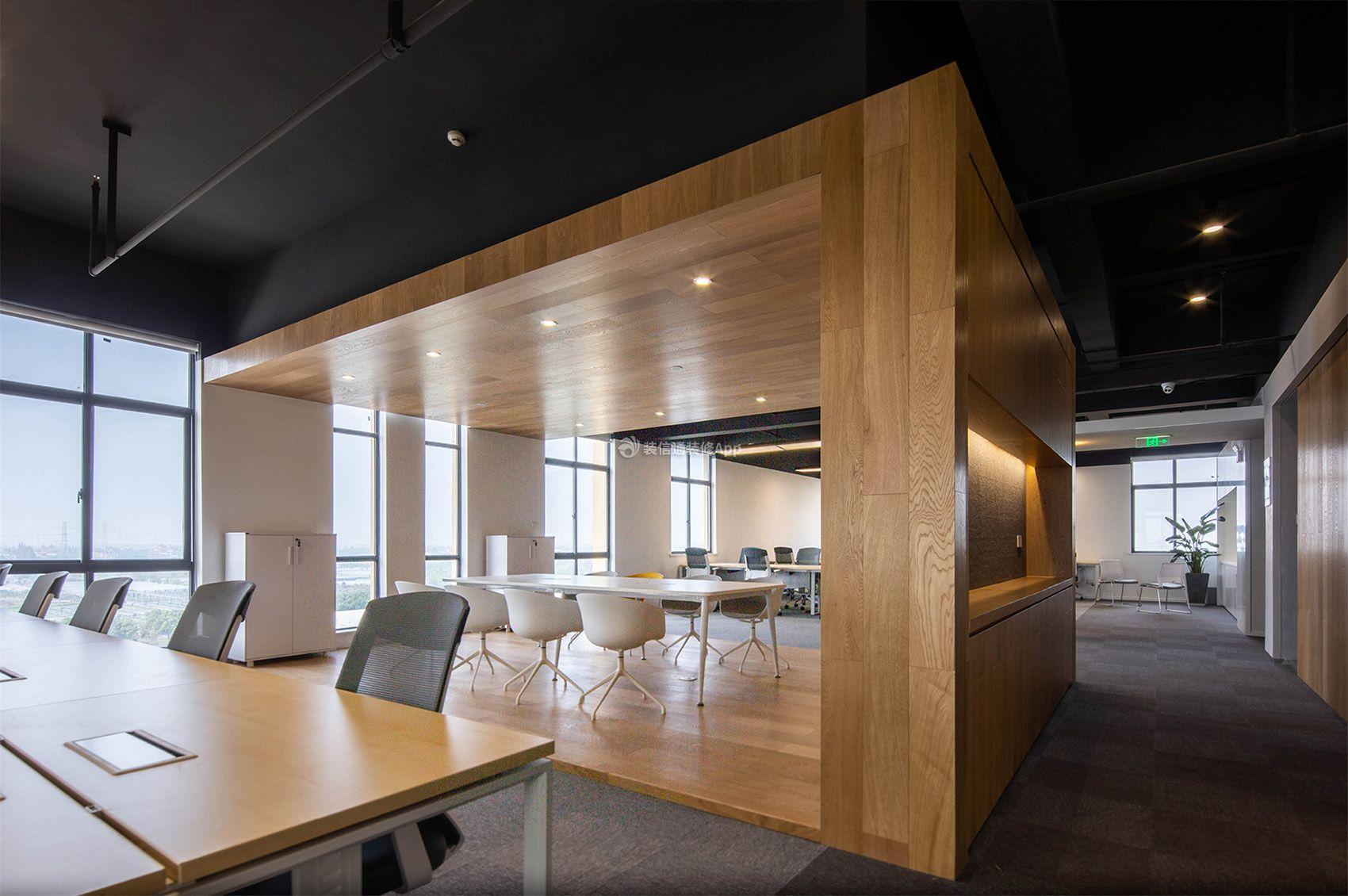 杭州现代风格办公室木质吊顶装修设计效果图