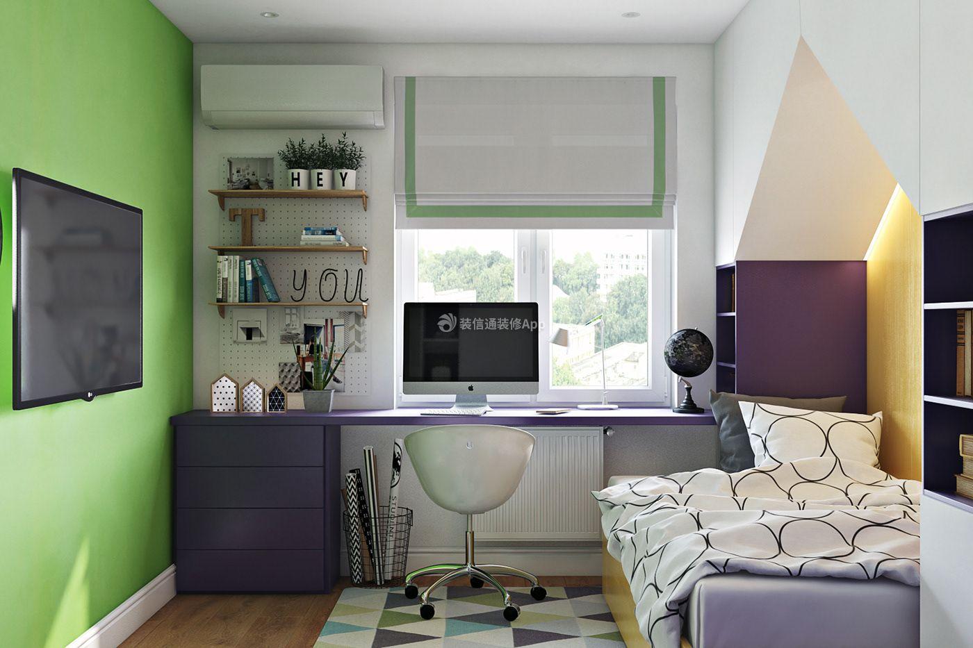 80平房屋儿童卧室飘窗书桌背景墙书架设计图图片