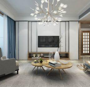 上億廣場130平家庭新房客廳木質茶幾設計圖-每日推薦